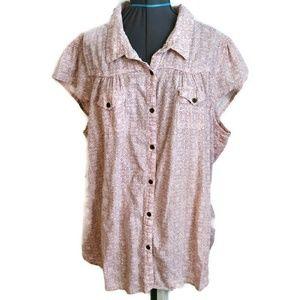 Ruff Hewn Shirt Top 3x 3XL Button Cap Sleeve  plus